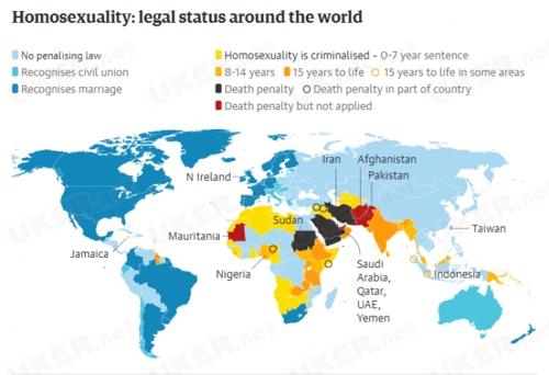 英国已同性恋合法50年 仍有72个国家视其为犯罪