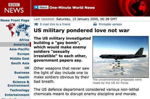 美国的这颗炸弹可以让敌军猛男全部变成同性恋?