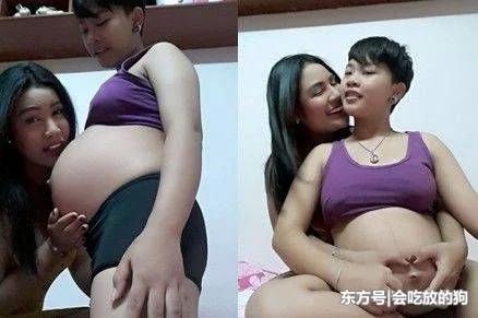 女同性恋夫妻网上开心分享怀孕照